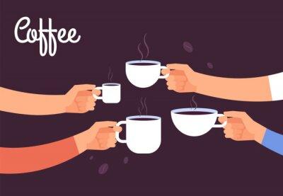 Картина Пить кофе концепции. Друзья пьют кофе на завтрак. Перерыв в офисе с эспрессо Векторный концепт. Иллюстрация кофе напиток, кафе завтрак утром с горячим эспрессо