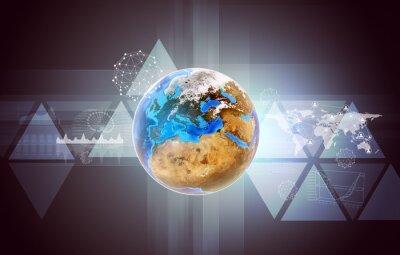 Картина Земля с картой мира