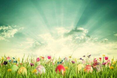 Картина Пасха Урожай фон с яйцами и цветами