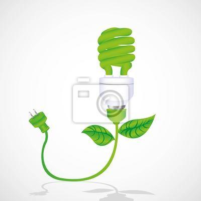 Эко лампа с кабелем, листьев и вилкой