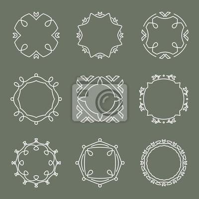 Эктор набор наклеек, эмблем, значков и кадров в стиль линии