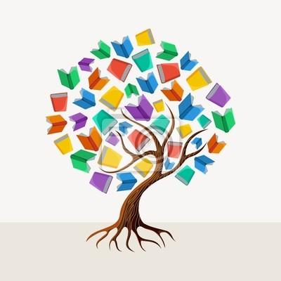 Образование дерево книга концепция иллюстрации
