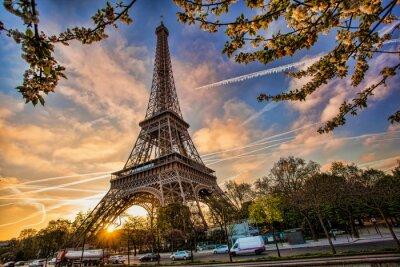 Картина Эйфелева башня против восхода солнца в Париже, Франция