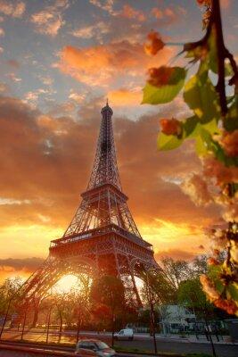 Картина Эйфелева башня во время красивый весенний утром в Париже, Франция
