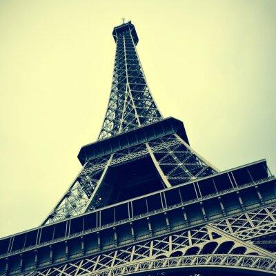 Картина Эйфелева башня в Париже, Франция с ретро эффект