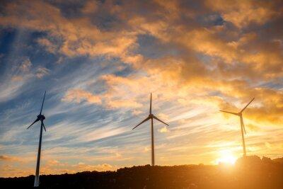 Картина Электрические ветряные мельницы на фоне неба на закате