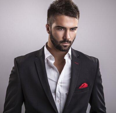 Картина Элегантный молодой красивый мужчина. Студийный портрет моды.