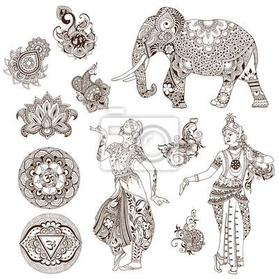 Слон, танцоры, мандалы, птицы, цветы в стиле мехенди. Набор декоративных элементов для дизайна.