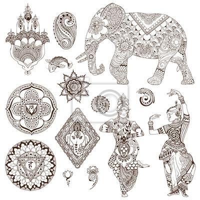 Слон, танцоры, мандалы, хамса, цветы в стиле мехенди. Набор декоративных элементов для дизайна.