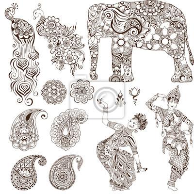 Слон, танцоры, павлин, пейсли в стиле мехенди. Набор декоративных элементов для дизайна.