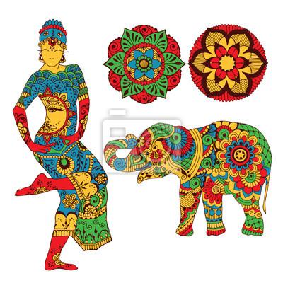 Слон, цветы, танцор на белом фоне. Обращается в mihendi стиле.