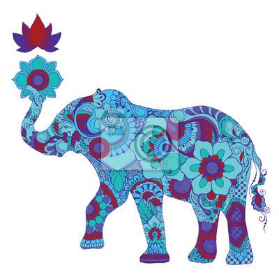 Слон с лотосом, украшенный индийским менди