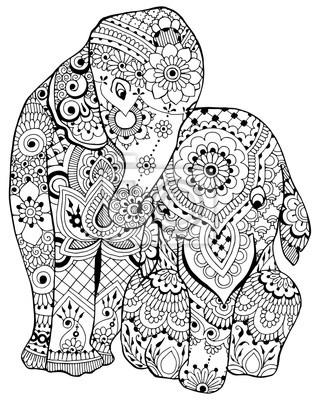 слон с орнаментом