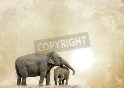Картина Слоны на фоне гранж
