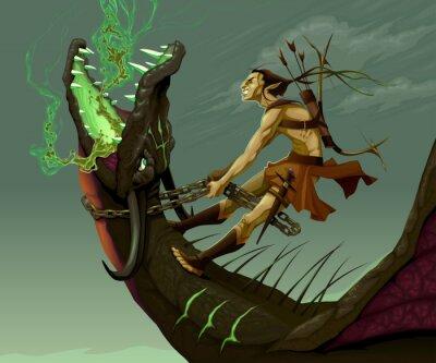 Картина Эльф едет дракона