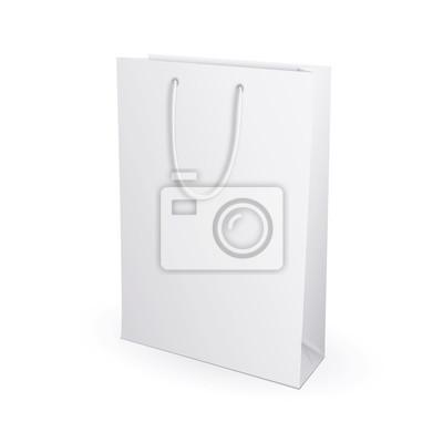 Пустой пакет для покупок на белом фоне для рекламы и брендинга. Изолированные на белом фоне. Макете шаблона готовы для вашего дизайна. Упаковка продукта Векторные иллюстрации.