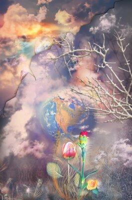 Картина Очарованный и фантастический пейзаж с красочными цветами серии