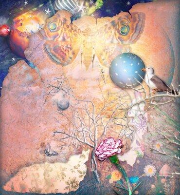 Картина Очарованный пейзаж с заколдованной дерева, гвоздики и butterflye