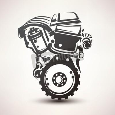 Картина двигатель автомобиля символ, стилизованный вектор силуэт значок