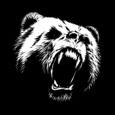 Картина выгравировать медведь иллюстрации