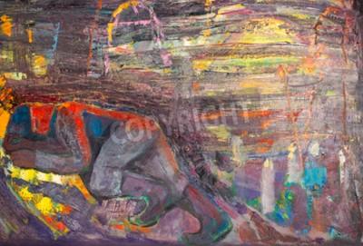 Картина Этнография, М.Ш. Хазиев. Заслуженный артист Татарстана. Картина, написанная маслом. Спящий человек