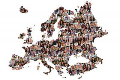 Картина Европа Karte Menschen Юнге Leute Gruppe Интеграция multikultur