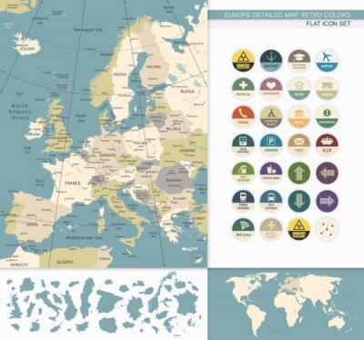 Картина Европа подробная map.Retro Цвета