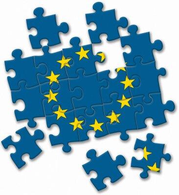 Картина Европейский союз флаг ЕС головоломка на белом фоне