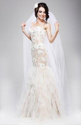 Картина Ожидание. Красивая Джубилант Невеста в белом свадебном платье