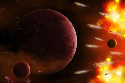 Картина Взрыв пространства / Взрыв пространства с кометы атаки планеты. Цифровая ретушь.