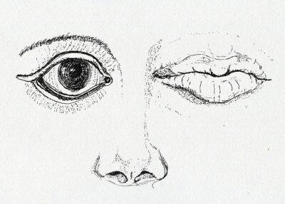 Картина Лицо, искусство метафора, перо и чернила рисунок на бумаге текстуры