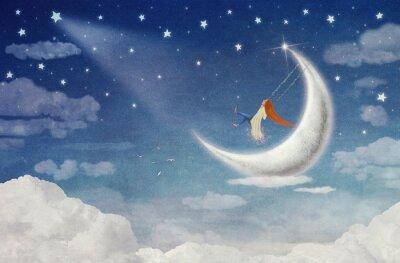 Картина Фея верхом на качелях на Луну в небе