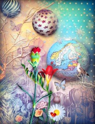 Картина Fairytales фон с fleld цветных цветов