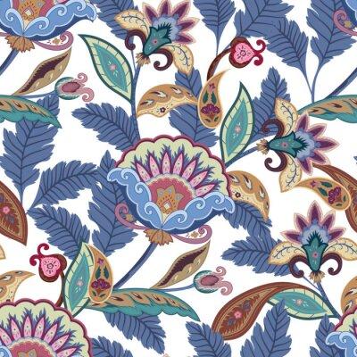 Картина Фантазия цветы бесшовные модели Пейсли. Цветочный орнамент, для ткани, упаковка, обои