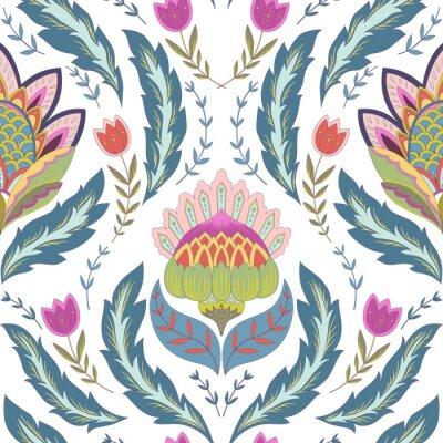 Картина Фантазия цветы бесшовные модели. Классический орнамент на белом фоне
