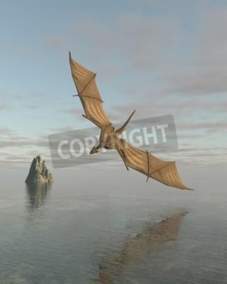 Картина Фэнтези иллюстрация дракона пролетел низко над спокойным океаном при дневном свете, 3D цифровой оказанные иллюстрации