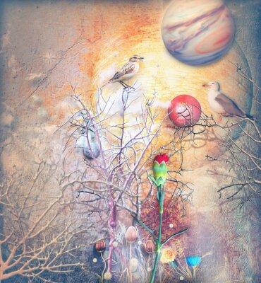 Картина Фантазия пейзаж с заколдованного дерева, птиц и красной гвоздике