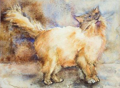 Картина Очарованный глядя длинноволосый кот. Техника прикладывая вблизи краев дает эффект мягкой фокусировки благодаря измененному шероховатости поверхности бумаги.