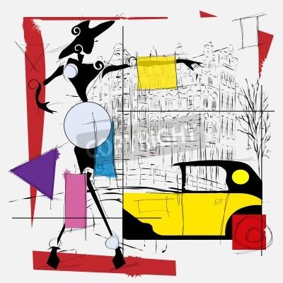 Картина мода девушка кубизм иллюстрации современные