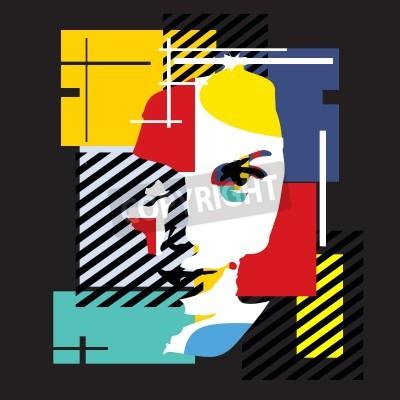 Картина Модная девушка. Современные иллюстрации. Кубизм