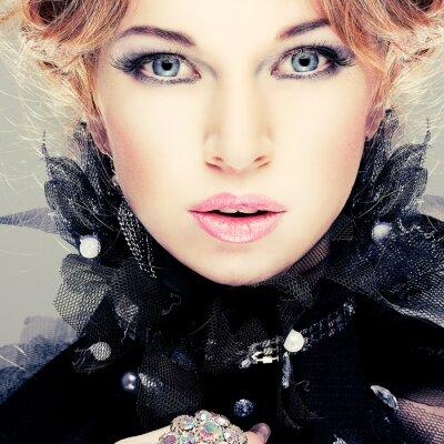 Картина Мода девушка portrait.Accessorys.Red волосы.
