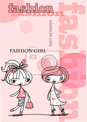 Модные девушки ходят по магазинам