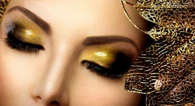 Картина Мода Гламур Макияж. Праздник золота блестящее Тени для век