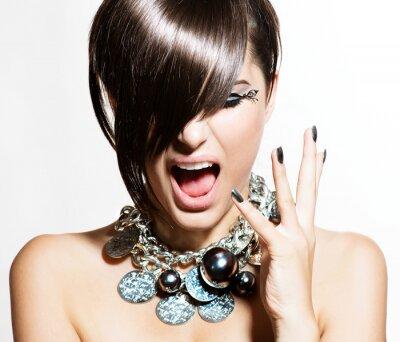 Картина Fashion Model портрет девушки. Эмоции. Модные прически