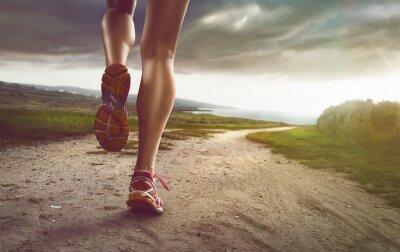 Картина Женский бегуном на прибрежной Путь