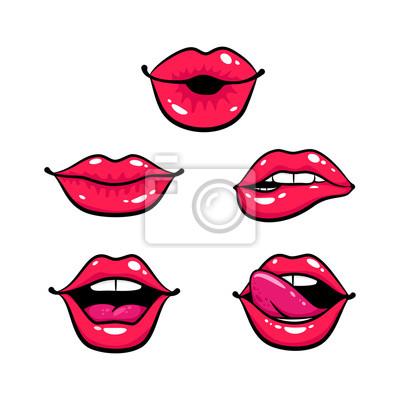 Женские губы установлены. Рот поцелуем, улыбка, язык, зубы. Вектор комиксов иллюстрация в стиле поп-арт ретро на белом фоне.
