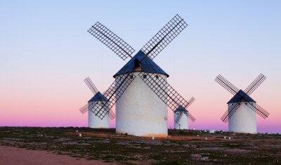 Картина Few windmills at field in evening