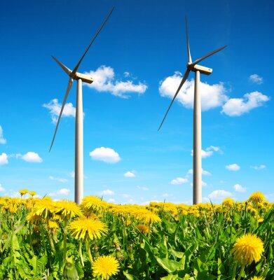Картина Поле одуванчиков с ветровых турбин. Чистая энергия.