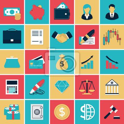 Установить Финансы и банковские плоские иконки