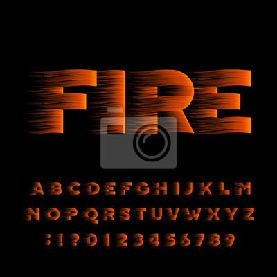 Шрифт огненного алфавита. Flame эффект жирным шрифтом буквы и цифры. Векторные иллюстрации.